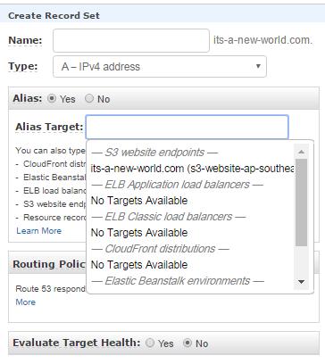 AWS S3- Create Record Set