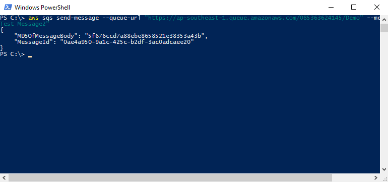 AWS SQS - Send Message to Queue from Powershell