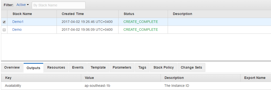 AWS Cloudformation - Output