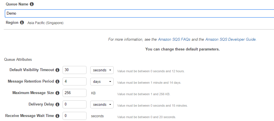 AWS SQS - Queue Inputs
