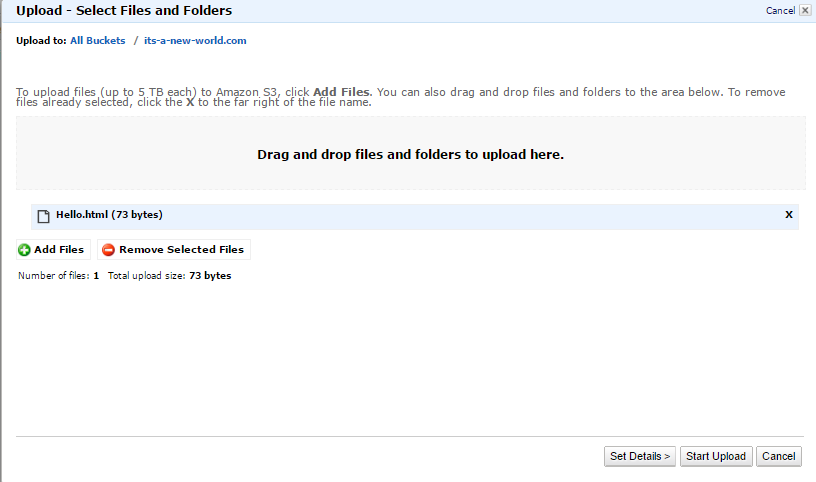 AWS S3 - Upload File to Bucket