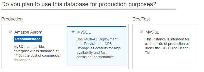 Choose the option of hosting a production database