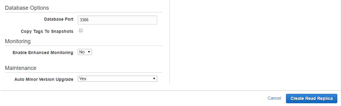 Click Create Read Replica