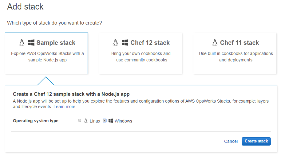 Choose sample stack, OS and then click on Create Stack