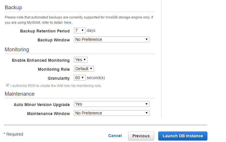 Accept settings and Launch DB Instance