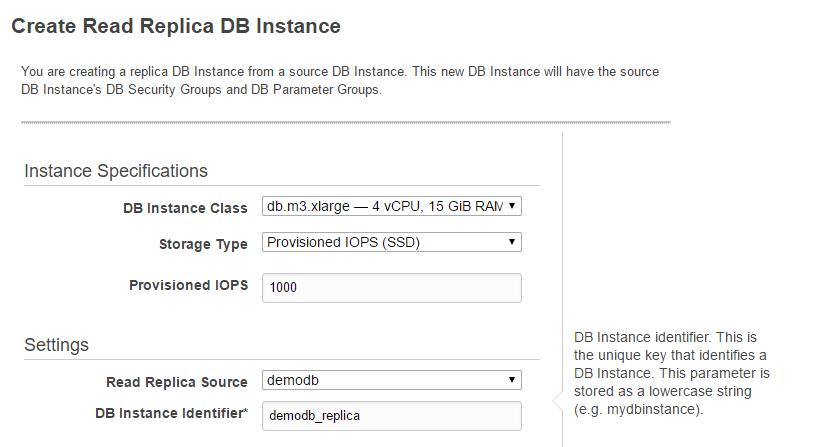 Create Read Replica DB Instance