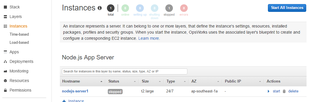 Start Server Instance