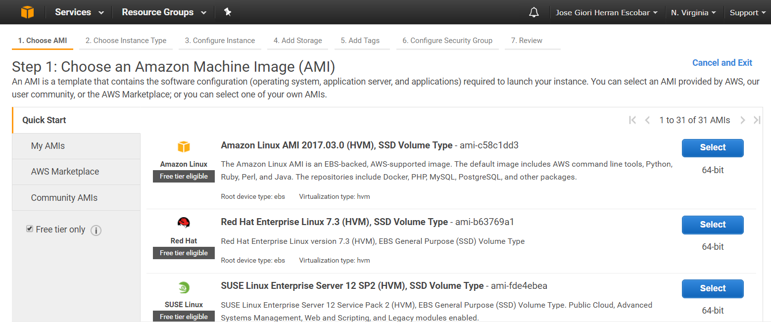 electing an EC2 instance included at AWS Free Tier