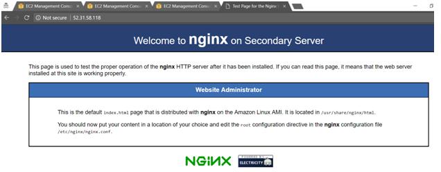 nginx on Secondary Server