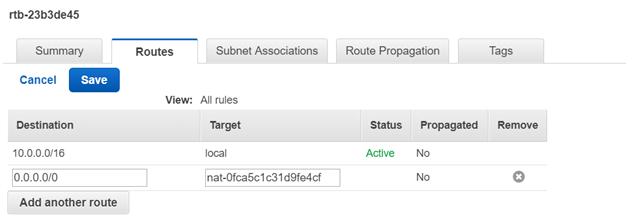 NAT Gateway Routes